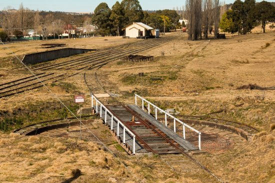 An old train turntable at Tenterfield Station.