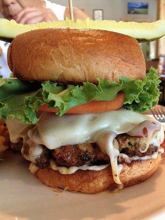 Chef Big D's 8 ounce bacon cheese mushroom burger