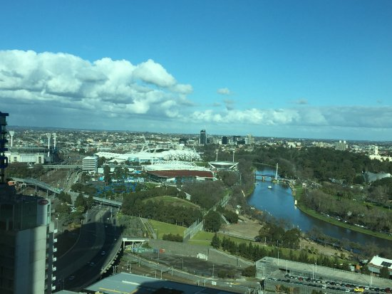 Grand Hyatt Melbourne: View of Rod Laver and Hisense Arena from one of our rooms