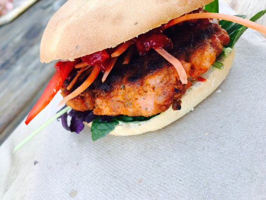 Twizel, New Zealand: Salmon burger.