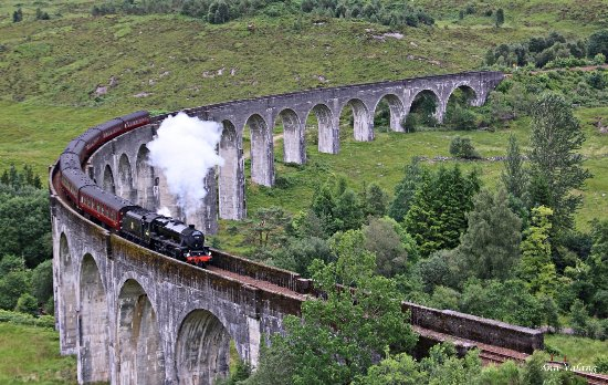 Glenfinnan Viaduct with the Jacobite train.
