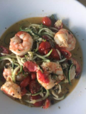 Marker 88: Spaghetti di zucchine con gamberoni
