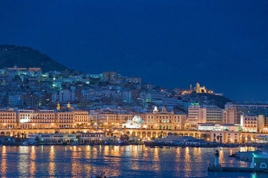 Algeria: Port d'Alger by night