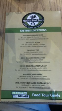 Marietta, Gürcistan: List of Tasting locations.