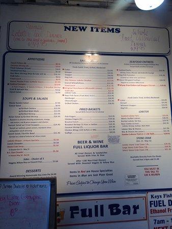 Il menu' - Picture of Keys Fisheries, Marathon - TripAdvisor