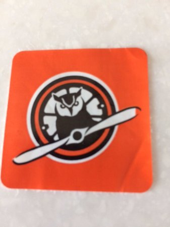 Owls Head, ME: Sticker you get to wear as proof you have paid admission...clever logo