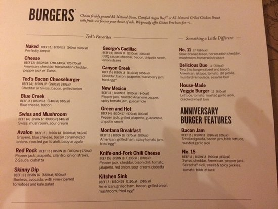 Ted\'s Burger Menu - Picture of Ted\'s Montana Grill, Gaithersburg ...