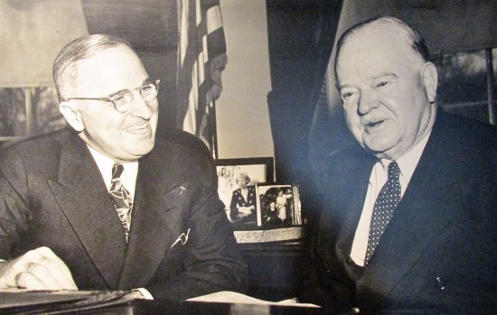 West Branch, IA: HST and HCH; Hoover saw extensive government service following WWII.