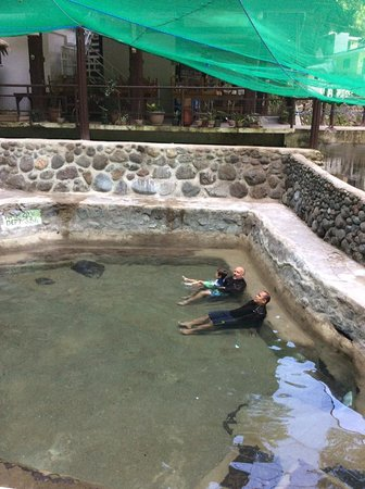 Panicuason Hot Spring Resort: Me, my son Gabriel and In-Law, Ramir. Pool #1 is 29C. warm not hot.