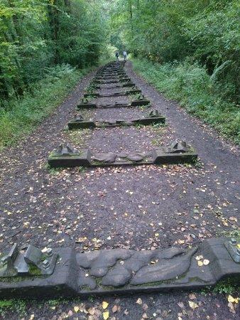 Coleford, UK: Carved railway sleepers