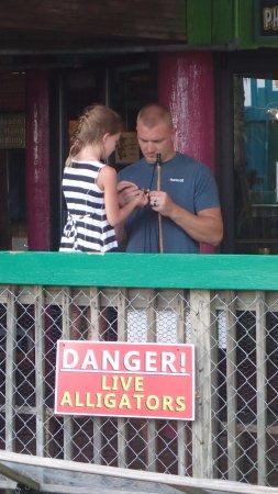 Fudpucker's Beachside Bar & Grill: Baiting Hook to Feed the Gators!