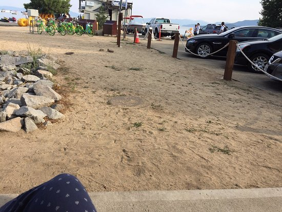 "Beach Retreat & Lodge at Tahoe: in front of the King ""beach front"" room with sewer and parking lot for little ones to wander off"