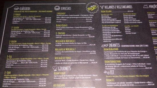 Nova Boom Burger: Cardápio