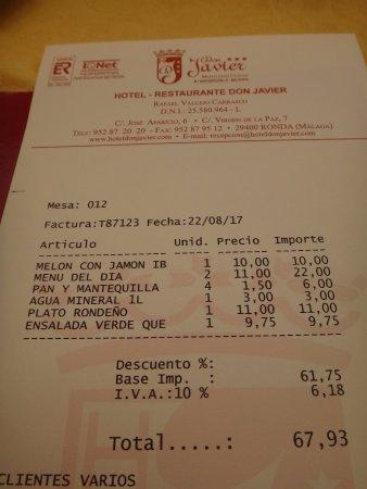 Restaurante Don Javier: Note salée pour 4 personnes sans boissons