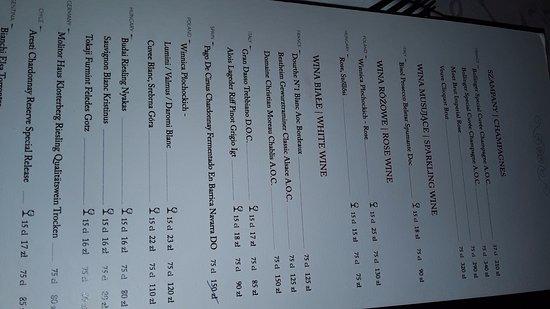 Miod Malina: menu