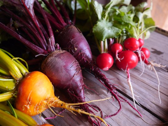 29 Palms Inn: Freshly harvested beets & radishes from our Faultline Farm