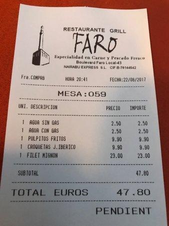 Grill Faro: Attenzione al conto, sempre un pane di troppo