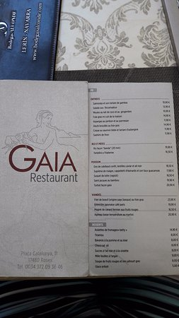 La Carte Du Restaurant Photo De Gaia Rosas Tripadvisor