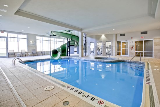 Indoor pool and hot tub with a slide  Saltwater Indoor Pool/Hot Tub/Waterslide - Picture of Fairfield ...