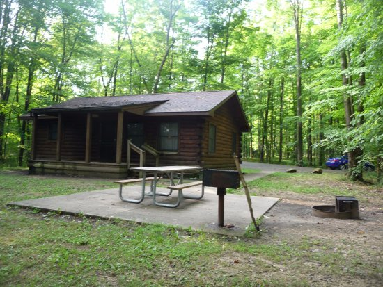 Pymatuning State Park: Front of Cabin 15 with picnic table, barbecue and fire pit