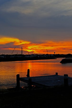 Surf City Family Campground: Sunset over Waters Bay, Surf City NC