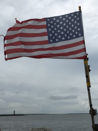 Captain Mike's Dolphin Tours: Old Glory on Dolphin V looking towards Atlantic