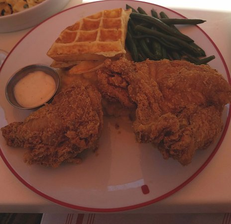 Potomac, MD: Fried chicken and waffles w/ mac and cheese and green beans