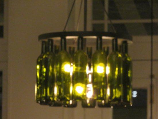Sapristi Bistro Bar: Light fixture made of wine bottles