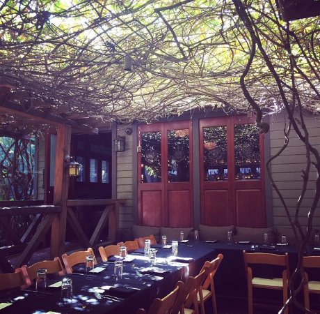 The Raymond Restaurant: vine-covered east patio, perfect for happy hour!