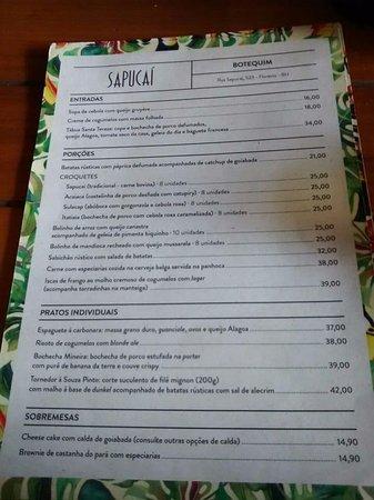 Botequim Sapucai: Cardápio de petiscos e pratos servidos na casa.