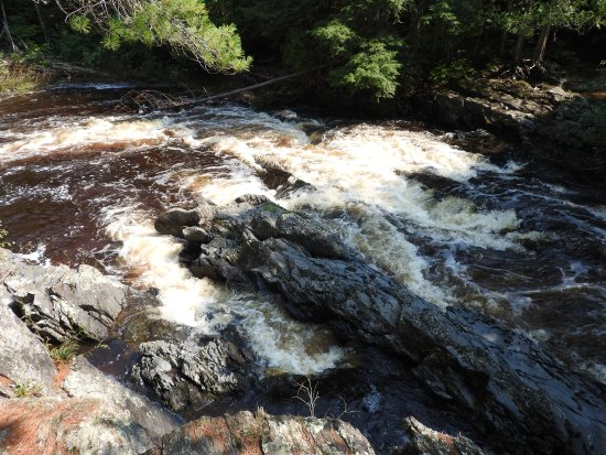 Baraga, MI: The water churns and sprays as it flows