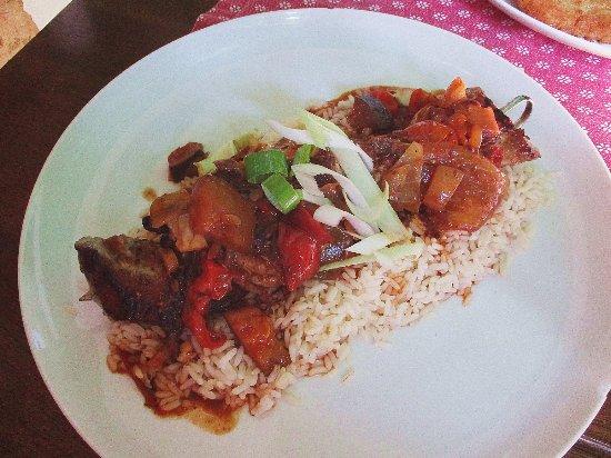 Hodonin, Tjeckien: Špíz, rýže.