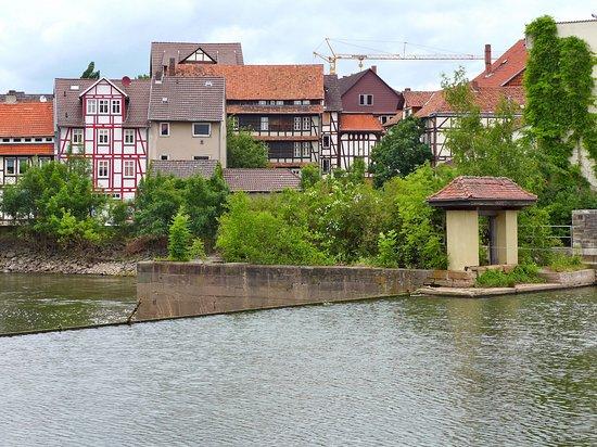 Eschwege, Duitsland: Blick über die Werra