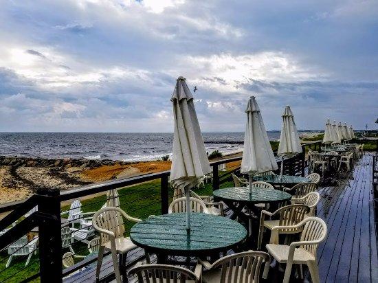 Lighthouse Inn: Deck; view looking west toward mainland Massachusetts
