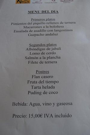 Villalba de la Sierra, España: El menú del día