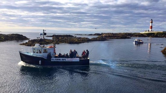 Peterhead, UK: Heather Isle leaving Boddam harbour Buchanness north east Scotland