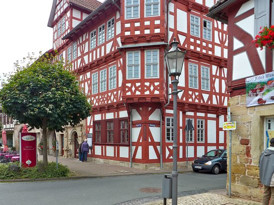 Wanfried, Duitsland: eines der eindrucksvollen Fachwerkhäuser