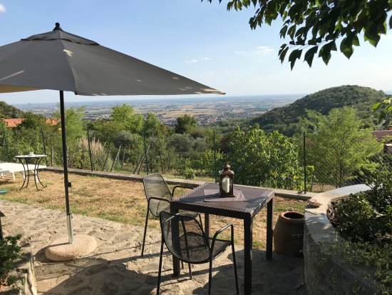 Baone, Italia: Tavolo colazione periodo estivo ... giardino vista panoramica
