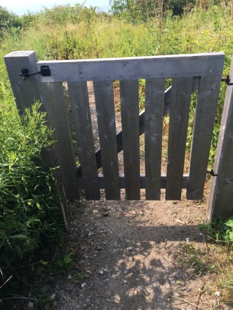 Prouts Neck, ME: Gate on the path up to the studio from the Cliff Walk