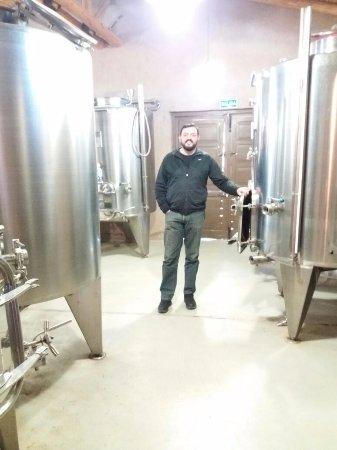 Bodega Entre Tapias: Interior de la Bodega - Tanques de acero inoxidable donde se procesa el vino.