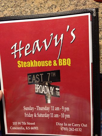 Concordia, KS: Heavy's menu