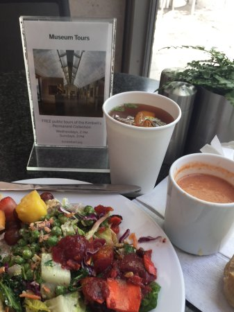 Buffet at the Kimbell: Tomato Basil Soup....Variety of Salads...Iced Tea