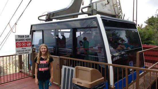 Sandia Peak Tramway: A tram car arrives at the top.