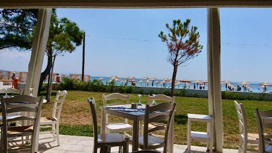Polygyros, กรีซ: Beautiful views for lunch shaded baby pool & lots of fun