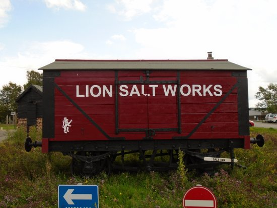 Northwich, UK: Refurbished rail wagon formerly used to transport the salt