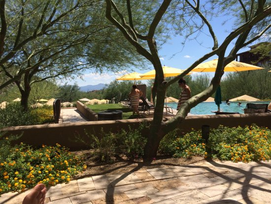 The Ritz-Carlton, Dove Mountain: View to upper pool from chairs on patio area.