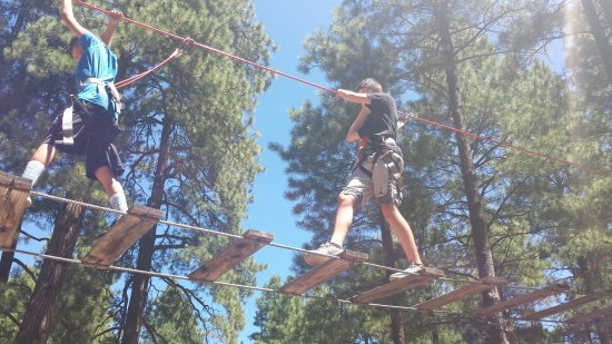 Flagstaff Extreme: First time crossing aerial obstacles.