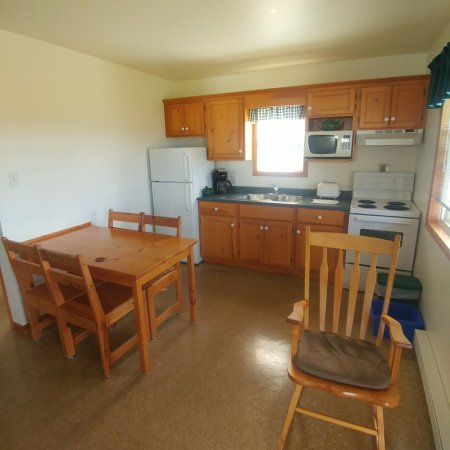 Cabot Trail Sea and Golf Chalets: Kitchen comes fully equipped with dishes & pots