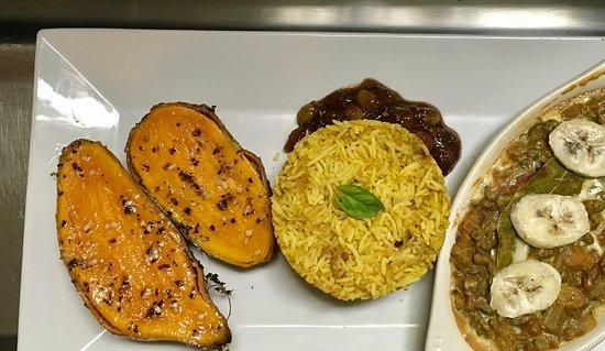 Winnsboro, TX: Vegetarian Bobotie, a traditional South African sweetheart. Baked lentil dish,sweet potatos, ric