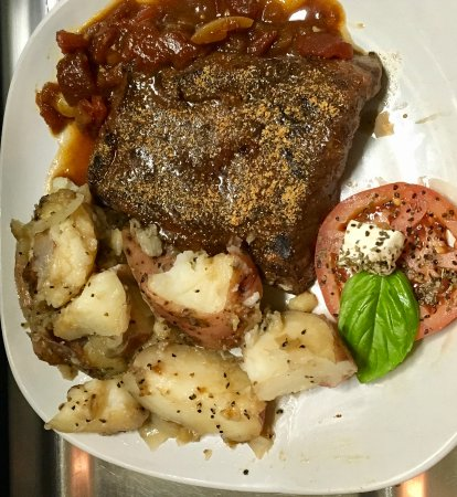 Winnsboro, TX: 10oz Flat Iron Steak, with roasted onion & red potatoes, a slice of herbed tomato and Monkey sau
